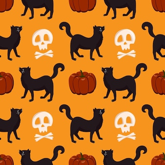 Modèle sans couture avec citrouille, chat noir et crâne. décoration d'automne festive pour halloween. fond de vacances octobre
