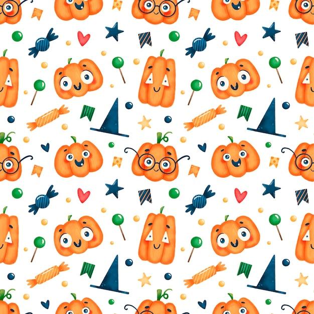 Modèle sans couture de citrouille halloween dessin animé mignon