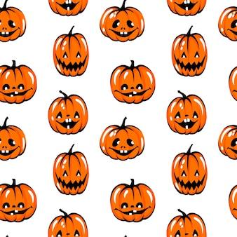 Modèle sans couture de citrouille d'halloween. symbole d'automne drôle. fond orange.