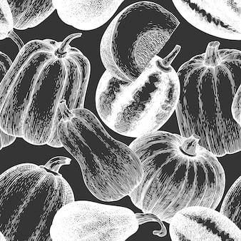 Modèle sans couture de citrouille. illustrations vectorielles dessinées à la main sur tableau noir. toile de fond de thanksgiving dans un style vintage avec récolte de citrouilles. fond d'automne.