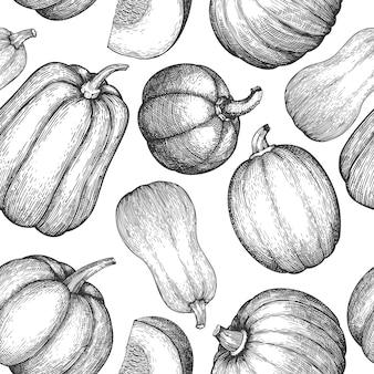 Modèle sans couture de citrouille. illustrations vectorielles dessinées à la main. toile de fond de thanksgiving dans un style rétro avec récolte de citrouilles. fond d'automne.