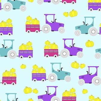 Modèle sans couture avec citrouilles d'automne, tracteurs, remorque, brouette. illustration vectorielle.