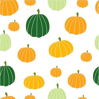 Modèle sans couture de citrouilles colorées. fond d'automne. illustration vectorielle.