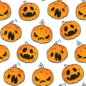 Modèle sans couture avec des citrouilles émotionnelles pour halloween