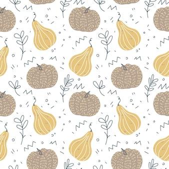Modèle sans couture de citrouilles fond d'automne pour la récolte de thanksgiving dans un style scandinave