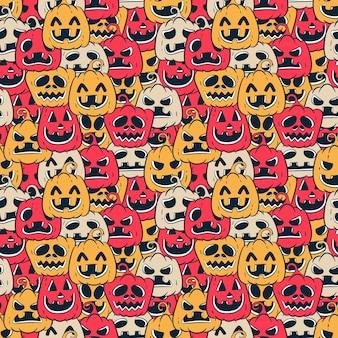 Modèle sans couture de citrouilles d'halloween dessinés à la main