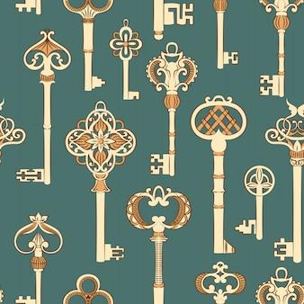 Modèle sans couture avec clés anciennes