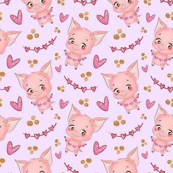 Modèle sans couture avec cochon et coeurs