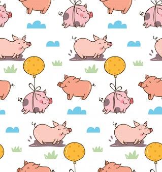Modèle sans couture de cochon dessin animé