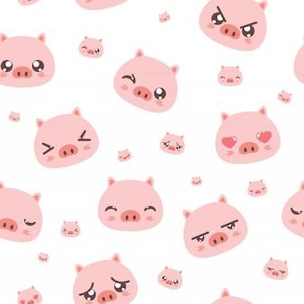 Modèle sans couture de cochon mignon