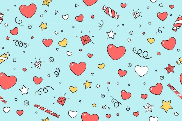 Modèle sans couture avec un cœur pour la saint-valentin