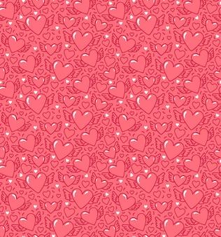 Modèle sans couture avec coeurs et ailes. coeurs ailés sur fond rose. modèle pour la saint-valentin.