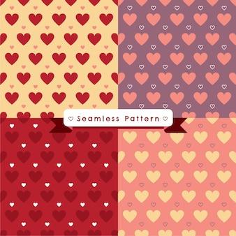 Modèle sans couture de coeurs sur backgronds 4 couleurs