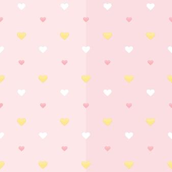 Modèle sans couture avec des coeurs blancs jaunes et roses sur un rose. illustration vectorielle