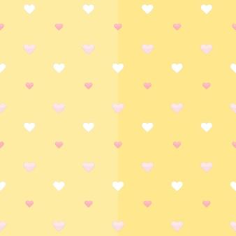 Modèle sans couture avec des coeurs blancs et roses sur un jaune. illustration vectorielle