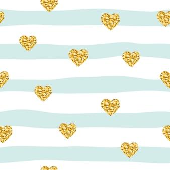 Modèle sans couture avec des coeurs de confettis de paillettes sur fond rayé