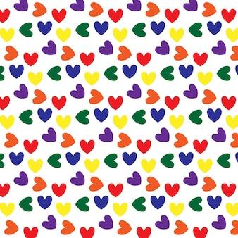 Modèle sans couture avec des coeurs en couleurs lgbt
