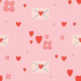 Modèle sans couture avec coeurs et lettre. la saint-valentin.