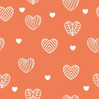 Modèle sans couture de coeurs. lignes et motifs blancs. fond rouge