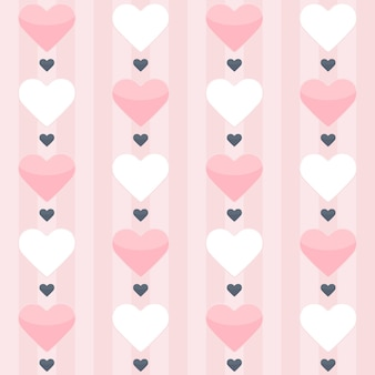 Modèle sans couture avec des coeurs roses et blancs sur un rose. illustration vectorielle