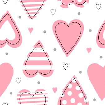 Modèle sans couture avec des coeurs roses.