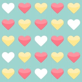 Modèle sans couture avec coeurs rouges et blancs jaunes sur menthe. illustration vectorielle