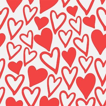 Modèle sans couture de coeurs rouges. thème de l'amour de la saint-valentin, illustration vectorielle dessinés à la main