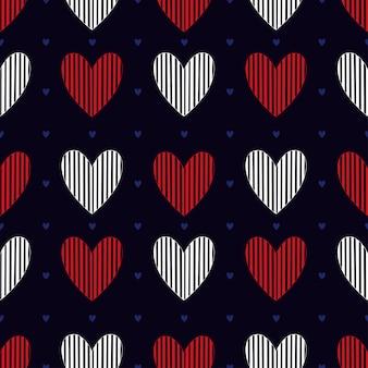 Modèle sans couture de coeurs simples