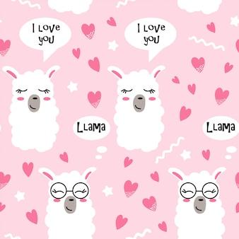 Modèle sans couture avec des coeurs et des visages de lama
