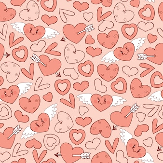 Modèle sans couture avec coeurs
