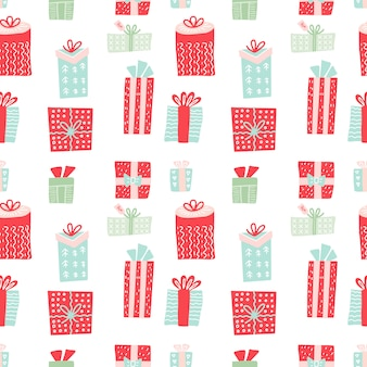 Modèle sans couture avec les coffrets cadeaux. cadeaux de noël et décoration du nouvel an.