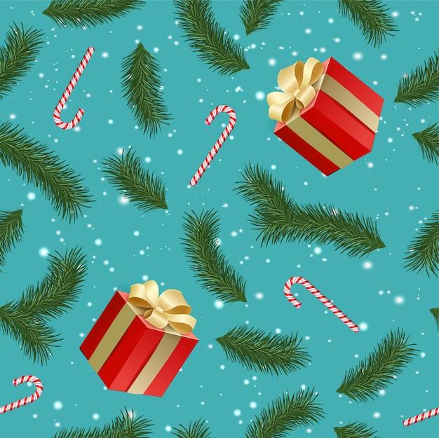 Modèle sans couture avec coffrets cadeaux réalistes, branches de sapin, cannes au caramel. répétition de fond d'hiver avec des branches de sapin, neige.