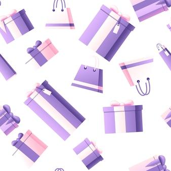 Modèle sans couture de coffrets cadeaux et de sacs à provisions avec illustration vectorielle plane motif abstrait couleur douce sur fond sombre.