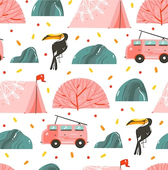 Modèle sans couture de collection d'illustrations d'heure d'été graphique caricature abstraite dessinés à la main avec tente, bus de camping-car et toucan isolé sur fond blanc.