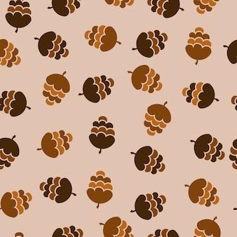 Modèle sans couture de collection pomme de pin hiver
