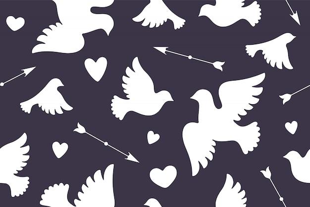 Modèle sans couture avec colombes d'amour blanc