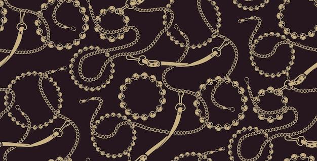 Modèle sans couture coloré de chaînes sur le fond sombre. idéal pour l'impression sur tissu.