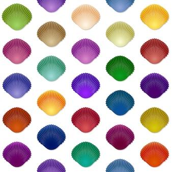 Modèle sans couture coloré de coquillage
