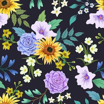 Modèle sans couture coloré avec dessin floral botanique.