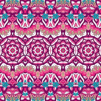 Modèle sans couture coloré fleur mandala ethnique