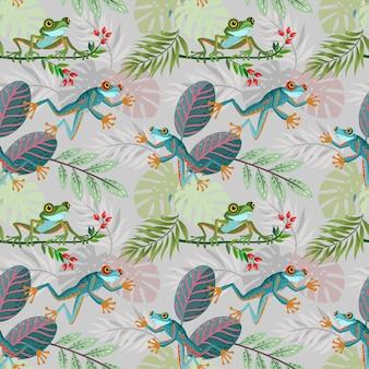 Modèle sans couture coloré grenouille et feuille