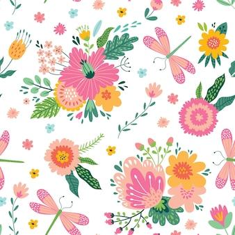 Modèle sans couture coloré avec des insectes et des fleurs.