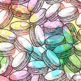 Modèle sans couture coloré de macarons