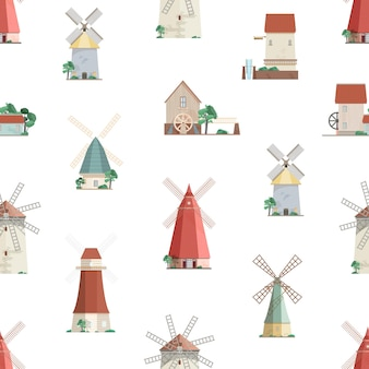 Modèle sans couture coloré avec moulins à eau et moulins à vent sur fond blanc