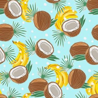 Modèle sans couture coloré de noix de coco et de bananes. contexte. les objets sont isolés.