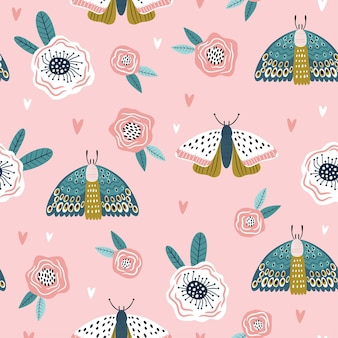 Modèle sans couture coloré avec des papillons et des fleurs.
