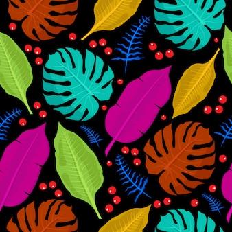 Modèle sans couture coloré de plantes tropicales