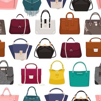 Modèle sans couture coloré avec des sacs pour femmes élégantes