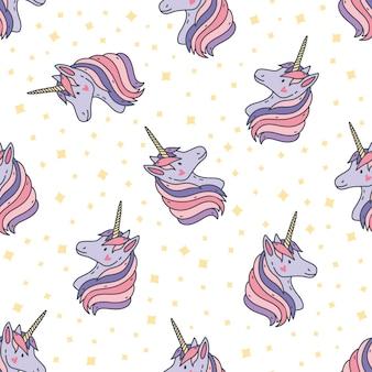 Modèle sans couture coloré avec têtes de licorne. toile de fond avec des créatures magiques avec corne, animaux de contes de fées et étoiles. illustration enfantine pour impression textile, papier peint, papier d'emballage