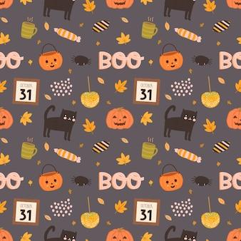 Modèle sans couture coloré de vecteur pour halloween style dessiné à la main.